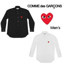 COMME des GARCONS Heart Unisex Street Style Long Sleeves Plain Cotton Shirts