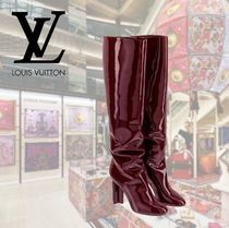 Louis Vuitton Plain Toe Enamel Plain Block Heels Elegant Style