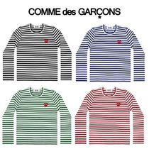 COMME des GARCONS Crew Neck Stripes Heart Unisex Street Style Long Sleeves