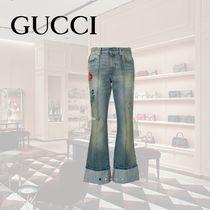GUCCI Flower Patterns Denim Long Wide & Flared Jeans