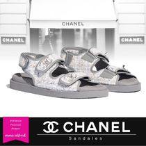 CHANEL Other Check Patterns Open Toe Platform Blended Fabrics