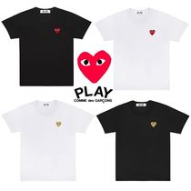 COMME des GARCONS Crew Neck Heart Unisex Street Style Cotton Short Sleeves