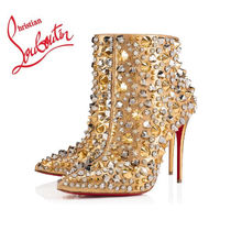Christian Louboutin Studded Plain Pin Heels Elegant Style Ankle & Booties Boots