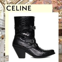 CELINE Plain Toe Plain Leather Block Heels Elegant Style