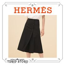 HERMES Wool Plain Medium Culottes & Gaucho Pants