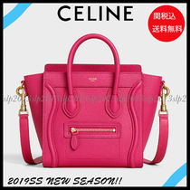 CELINE Luggage Calfskin Blended Fabrics 2WAY Plain Elegant Style