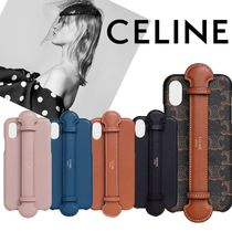 CELINE Classic Unisex Street Style Plain Leather iPhone X iPhone XS Logo