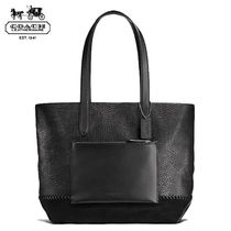 Coach Unisex Blended Fabrics A4 Bi-color Plain Leather Totes