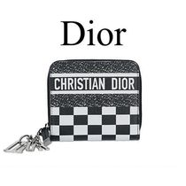 Christian Dior LADY DIOR Other Check Patterns Calfskin Bi-color Folding Wallets