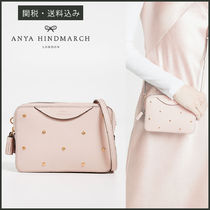Anya Hindmarch Casual Style Studded 2WAY Plain Leather Shoulder Bags
