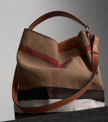 4d3ee9133 ... Burberry Shoulder Bags Burberry Leather and Canvas Check Mid Ashby Bin  3 ...