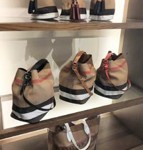 Burberry Burberry Leather and Canvas Check Mid Ashby Bin