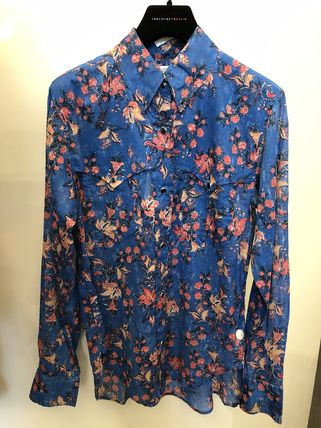 Short Flower Patterns Long Sleeves Cotton Cropped