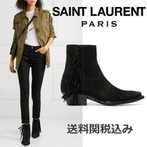 Saint Laurent Suede Blended Fabrics Plain Fringes Elegant Style