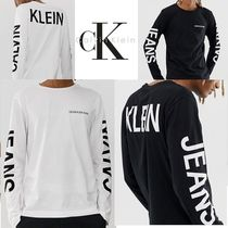 Calvin Klein Unisex Street Style Long Sleeves Cotton Logos on the Sleeves