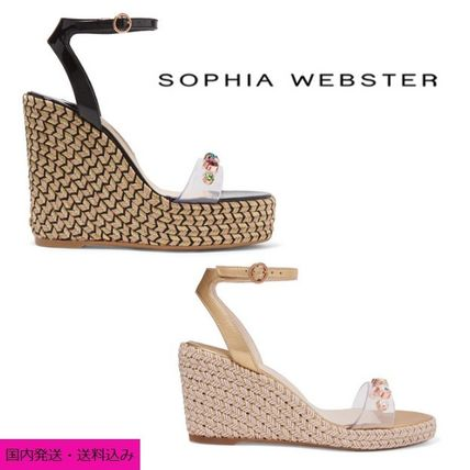 Open Toe Casual Style Blended Fabrics Leather With Jewels