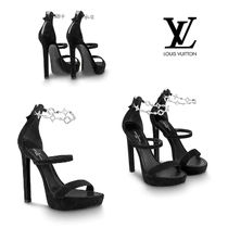 Louis Vuitton Open Toe Leather Pin Heels With Jewels Elegant Style
