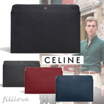 CELINE Plain Leather Clutches
