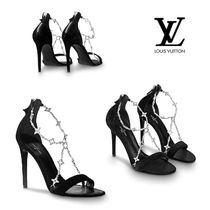 Louis Vuitton Open Toe Suede Pin Heels With Jewels Elegant Style