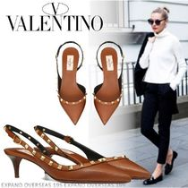 VALENTINO Studded Plain Leather Pumps & Mules
