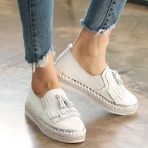 Round Toe Casual Style Leather Slip-On Shoes