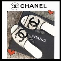 CHANEL ICON Open Toe Casual Style Bi-color Plain PVC Clothing