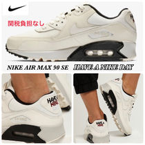 Nike AIR MAX 90 Round Toe Lace-up Casual Style Unisex Street Style Plain
