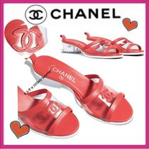 CHANEL ICON Open Toe Casual Style Blended Fabrics Bi-color Plain