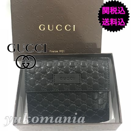 GUCCI Folding Wallets Unisex Leather Folding Wallets