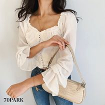 Casual Style Plain Medium Off the Shoulder