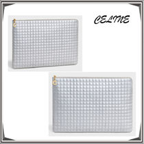 CELINE Unisex Calfskin Street Style Bag in Bag A4 Plain Clutches