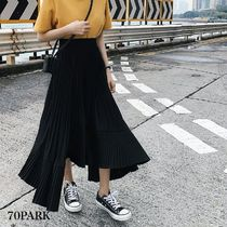 Casual Style Pleated Skirts Street Style Plain Medium
