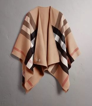 00dee3ff0 ... Burberry Ponchos & Capes Burberry Reversible Check Merino Wool Poncho  Camel CHR ...