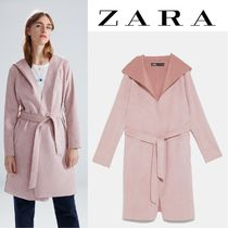 ZARA Suede Plain Long Office Style Wrap Coats