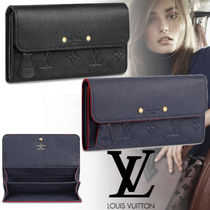 Louis Vuitton PORTEFEUILLE EMILIE Monogram Blended Fabrics Studded Plain Leather Long Wallets