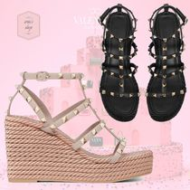 VALENTINO Open Toe Casual Style Blended Fabrics Studded Plain Leather