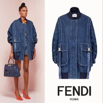 FENDI Casual Style Denim Plain Long Jackets