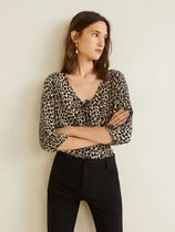 MANGO Leopard Patterns Cropped Shirts & Blouses