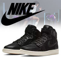 Nike JORDAN 1 Round Toe Rubber Sole Casual Style Faux Fur Blended Fabrics