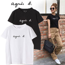 Agnes b Crew Neck Short Street Style Plain Cotton Short Sleeves