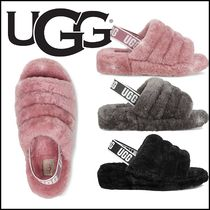 UGG Australia YEAH Open Toe Platform Casual Style Sheepskin Plain Slip-On Shoes