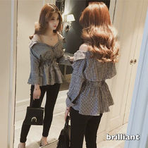 Gingham Casual Style Off the Shoulder