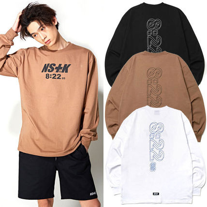 Crew Neck Pullovers Unisex Street Style Long Sleeves Cotton