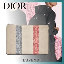 DIOR HOMME Stripes Unisex Canvas Blended Fabrics Clutches