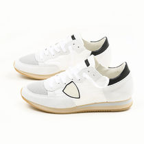 PHILIPPE MODEL PARIS Blended Fabrics Plain Leather Sneakers