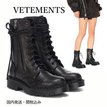 VETEMENTS Round Toe Rubber Sole Lace-up Casual Style Street Style