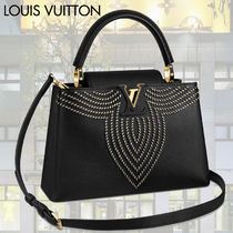 Louis Vuitton CAPUCINES Studded 3WAY Plain Leather With Jewels Elegant Style