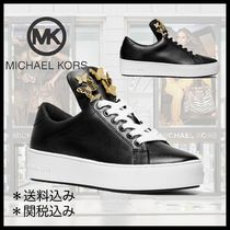 Michael Kors Round Toe Rubber Sole Street Style Leather Elegant Style