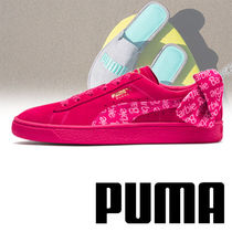 PUMA Round Toe Rubber Sole Casual Style Suede Street Style Plain