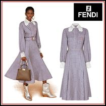 FENDI Long Sleeves Long Elegant Style Dresses
